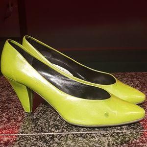 Vintage Italy Perage Paris green leather heels 7